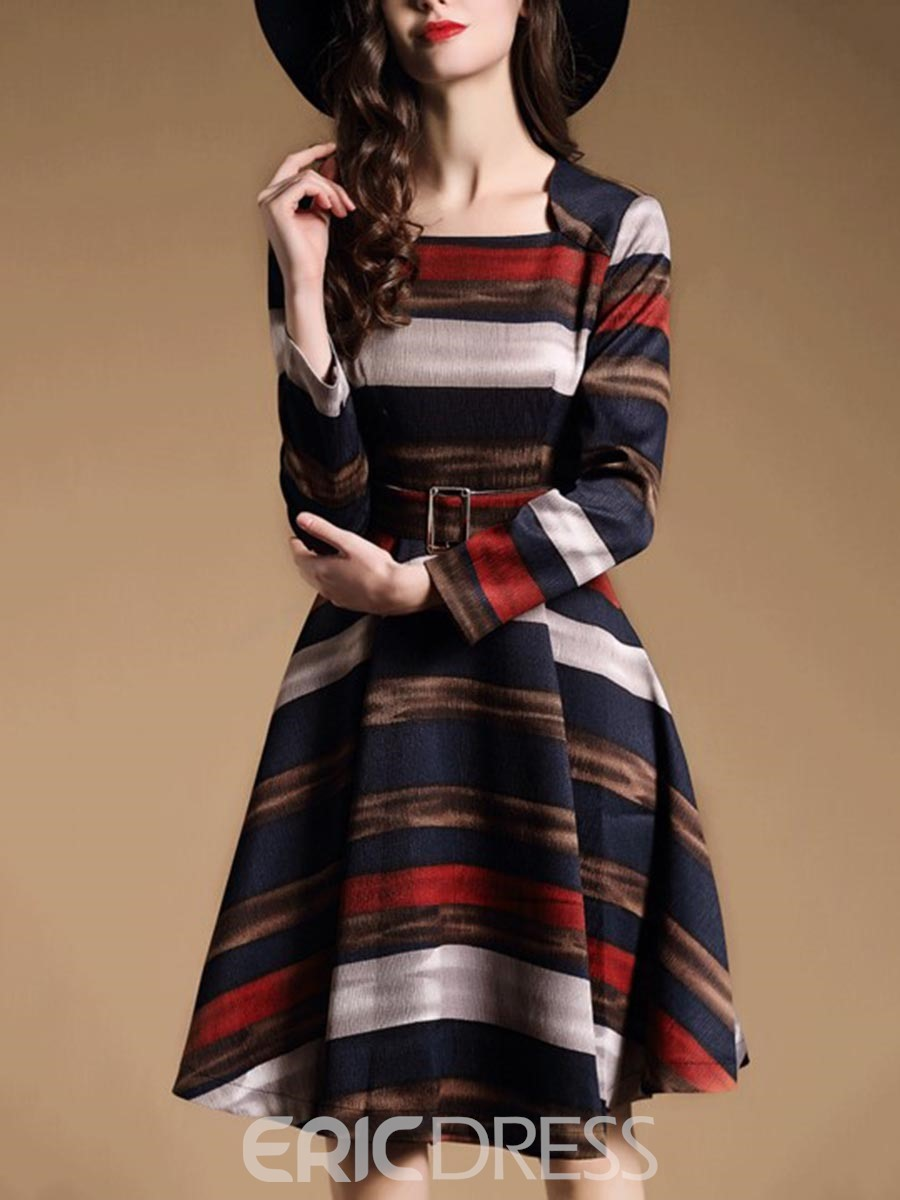 Ericdress Square Neck Stripe Belt Long Sleeves A-Line Dress