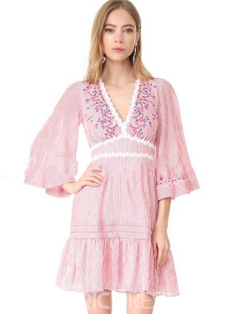 Ericdress V-Neck Embroidery Flare Sleeve Casual Dress