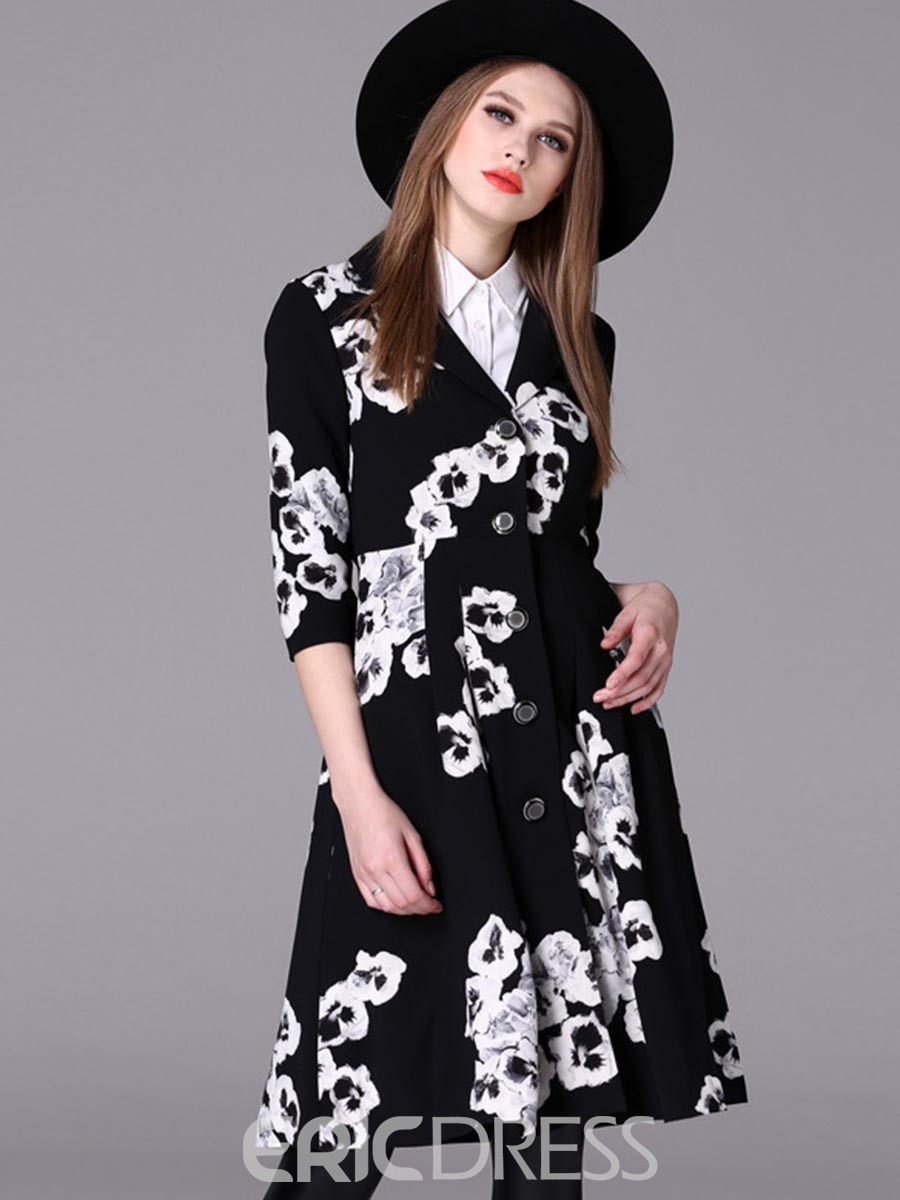 Ericdress Floral Print Single-Breasted Notched Lapel A-Line Dress