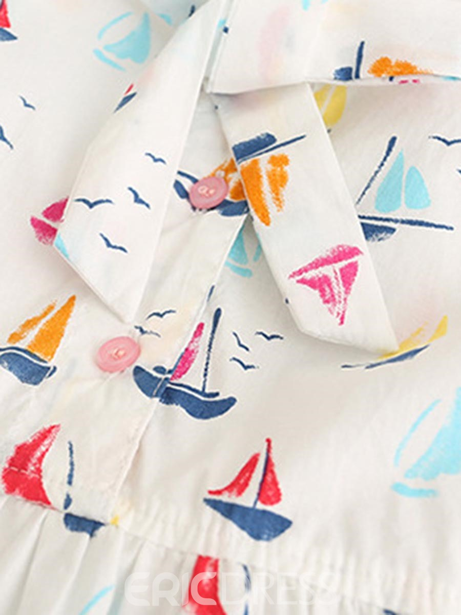Ericdress Colorful Sailboat Print Bowknot Tied A-Line Dress