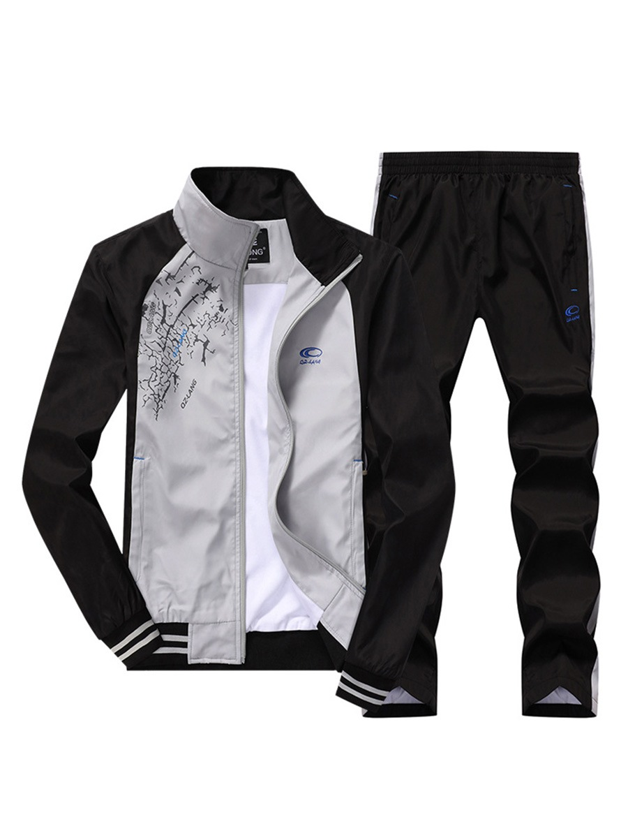 Ericdress Color Block Patchwork Men's Sports Suit