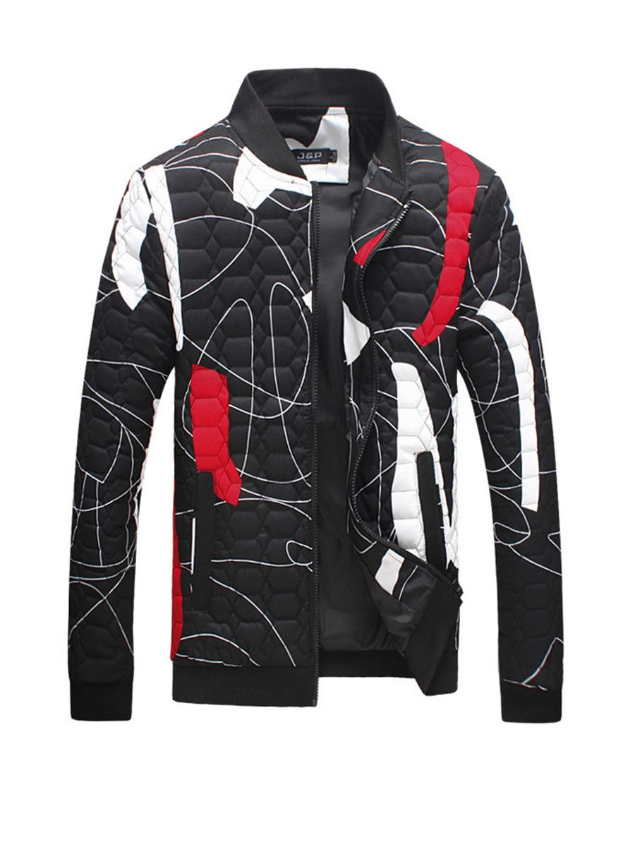 Ericdress Color Block Print Zipper Men's Cotton Jacket