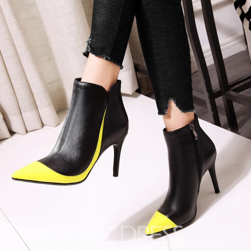 Ericdress Fashion Color Block Stiletto Heel Womens Boots