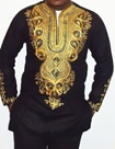 Ericdress Dashiki Color Block African Print Mid-Length Vogue Slim Men's Shirt