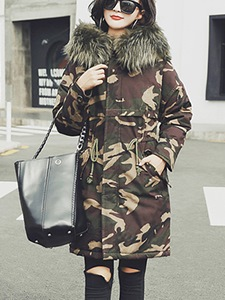 Ericdress Thick Camouflage Mid-Length Hooded Coat