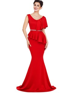 Ericdress V-Neck Ruffle Asymmetric Mermaid Maxi Dress