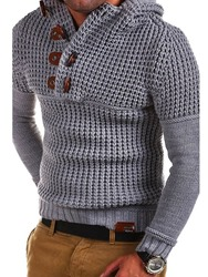 Ericdress Plain Button Slim Fit Mens Knitwear