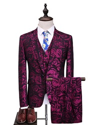 Ericdress Floral Print One Button Vogue Slim Mens Casual Suit