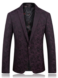 Ericdress Floral Print Notched Lapel Vogue Mens Blazer