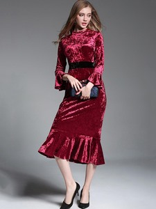 Ericdress Velvet Flare Sleeves Ruffles Patchwork Mermaid Maxi Dress