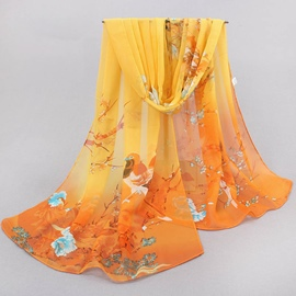 Ericdress All Match Chinese Style Chiffon Floral Scarf for Women