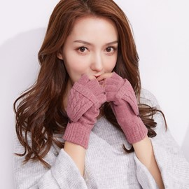 Ericdress Pure Color Knitting Wool Gloves for Women