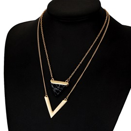 Ericdress Double Layer V Pendant Necklace for Women