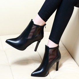 Ericdress Clear Pointed Toe Patchwork Plain High Heel Boots