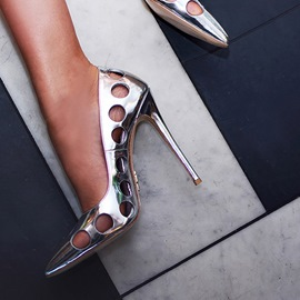 Ericdress Silver Hollow Pointed Toe Stiletto Heel Pumps