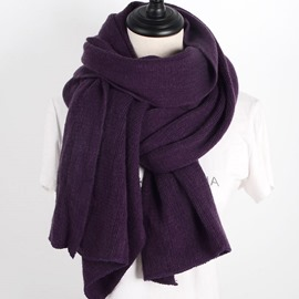 Ericdress Solid Color Ultra Violet Knitting Women's Scarf