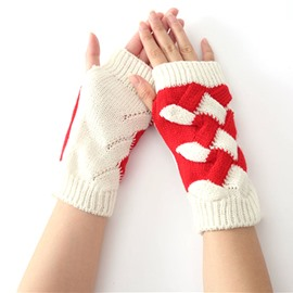 Ericdress Vivid Knitting Contrast Color Gloves for Women