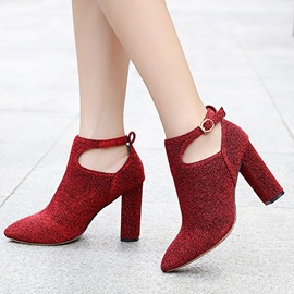 Ericdress Glitterring Hollow Buckle High Heel Boots