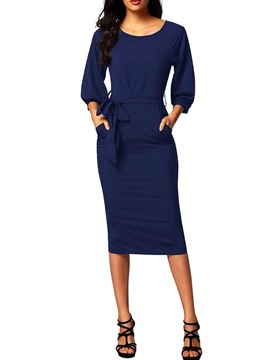 Ericdress Lace-Up Lantern Sleeves Plain Sheath Dress