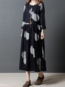 Ericdress Geometric Print Long Sleeves Casual Dress
