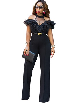 Ericdress Slim Wide Leg High-Waist Falbala Off Shoulder Women's Jumpsuit