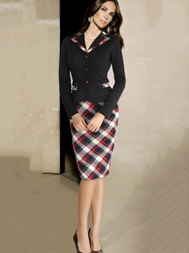 Ericdress Plaid Single-Breasted Jacket and Knee-Length Bodycon Skirt Women's Skirt Suit