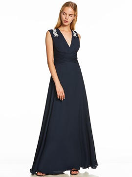 Ericdress V Neck Appliques Pleats A Line Evening Dress
