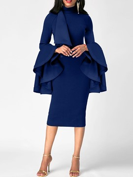 Ericdress High Neck Ruffle Long Sleeve Sheath Dress