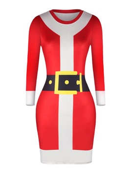 Ericdress Chrismas Print Color Block Bodycon Dress