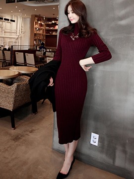 Ericdress Long Sleeves Mid-Calf Women's Bodycon Dress