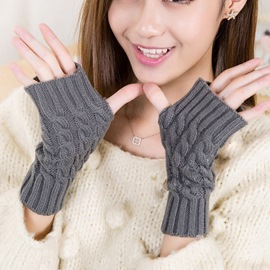 Ericdress Pure Color Wool Knitting Thicken Gloves for Women