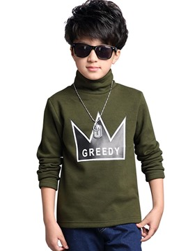 Ericdress Letter Print Turtleneck Woolen Thick Boy's Winter T-Shirt