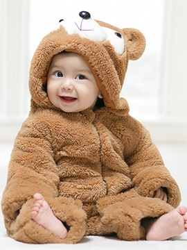 Ericdress Brown Animal Model Zipper Cotton Blends Baby Boys & Girls Bodysuits