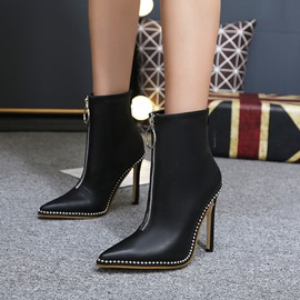 Ericdress Fashion Beads Decorated Plain High Heel Boots