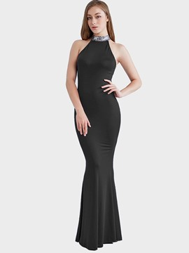 Ericdress Halter Sequins Backless Mermaid Maxi Dress