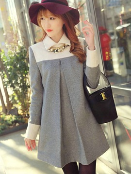 Ericdress Patchwork Mid-Length Cape Coat