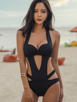 Ericdress Black Hollow Backless Monokini