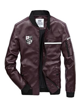 Ericdress Plain Zipper Stand Collar PU Leather Men's Jacket