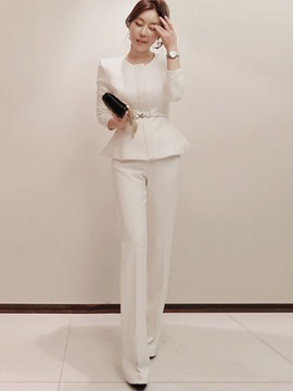 Ericdress Jacket and Straight Pants Women's Suit
