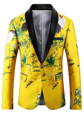 Ericdress Floral Print Notched Lapel Unique Slim Men's Blazer