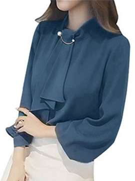 Ericdress Plain Tie Lantern Sleeve Shirt