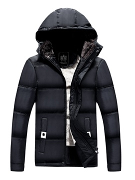 Ericdres Plain Zipper Thicken Warm Hooded Men's Winter Coat