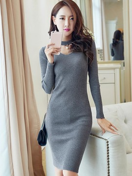 Ericdress V-Neck Long Sleeves Plain Sweater Dress