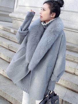 Ericdress Fur Collar Mid-Length Plain Coat