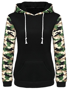 Ericdress Camouflage Patchwork Print Plaid Cool Hoodie