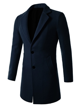 Ericdress Plain Notched Lapel Single-Breasted Slim Men's Woolen Coat