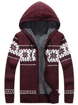 Ericdress Floral Print Hooded Thicken Warm Men's Cardigan Sweater