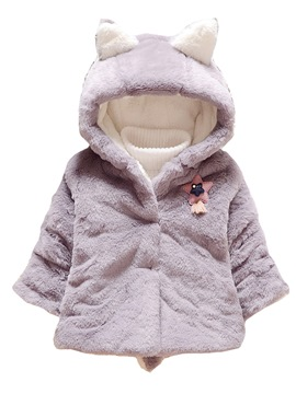 Ericdress Plain Hooded Cotton Blends Baby Girl's Overcoat