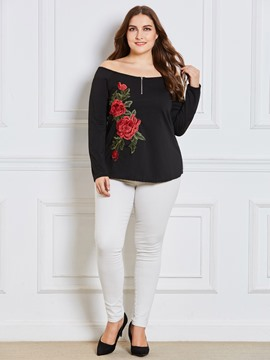Ericdress Plus-Size Embroidery Floral Zipper T-shirt