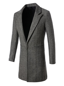 Ericdress Plain Stripe Casual Slim Men's Woolen Coat